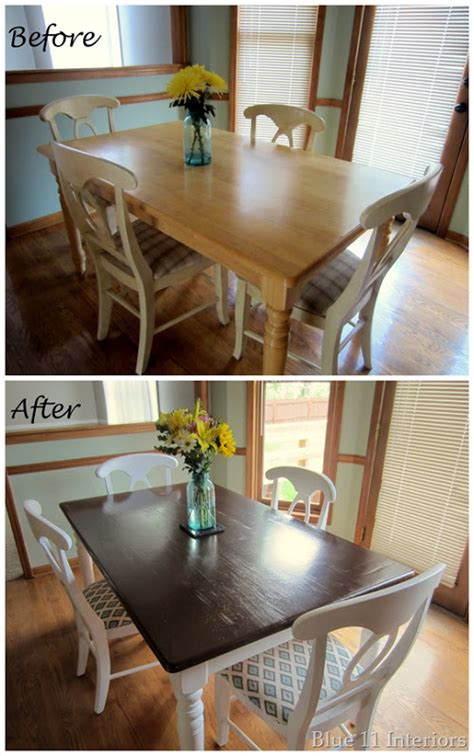blue  interiors dining room table  chairs makeover