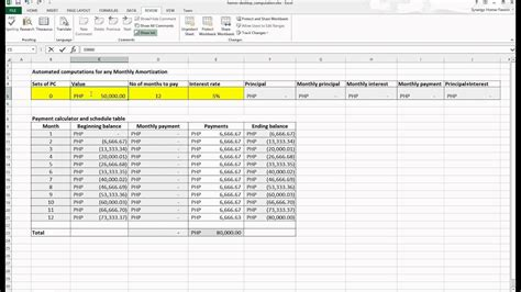 automated amortization calculator excel youtube