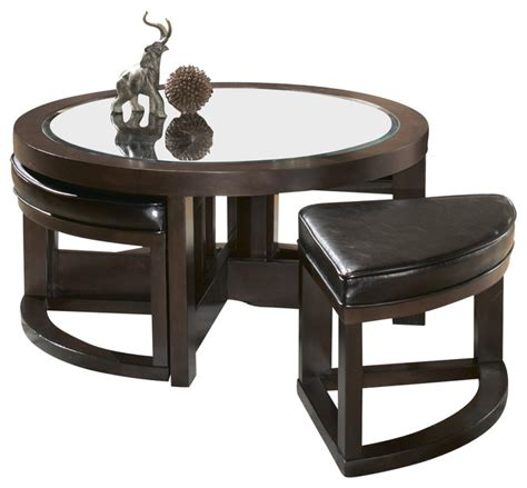 cocktail table with 4 ottomans homelegance brussel round cocktail table with 4 ottomans