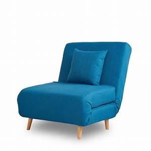 Chauffeuse 1 Personne : fauteuil convertible lit 1 place adron design bleu convertible et fauteuils ~ Teatrodelosmanantiales.com Idées de Décoration