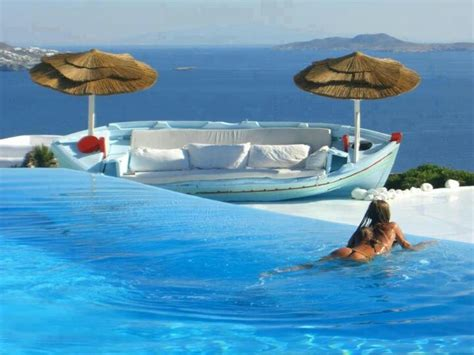 Chic Swimming Pool In Santorini Greece Places Pinterest