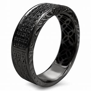 Mens 55ct Black Round Diamond Pave Wedding Band Ring 14k