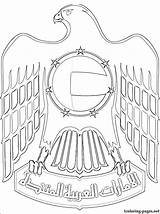 Coloring Emirates Arab United Falcon Uae National Clipart Coat Arms Drawings Sketch Colouring Flag Drawing Culture Printable Dubai Activities Sheikh sketch template