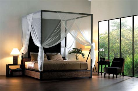 modern bedroom set contains of open canopy bed with cozy