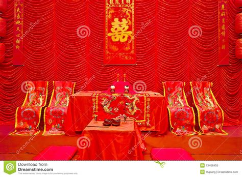 chinese traditional wedding setting royalty  stock
