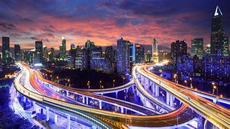 wallpaper hong kong china city night lights highway skyscrapers buildings  hd