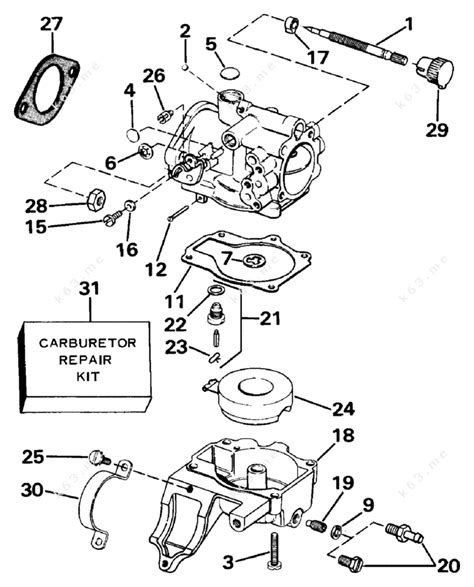 20 Hp Johnson Outboard Diagram by Johnson 1988 20 J20ecca Carburetor Parts Catalog