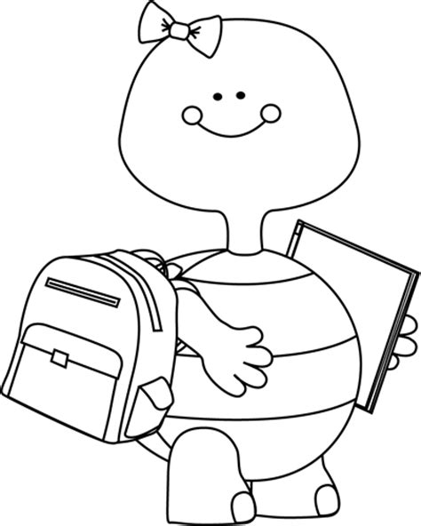 going to school clipart black and white black and white turtle going to school clip black