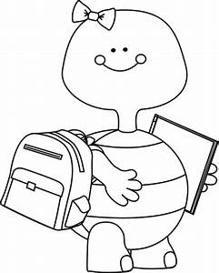 Black and White Turtle Going to School Clip Art - Black ...