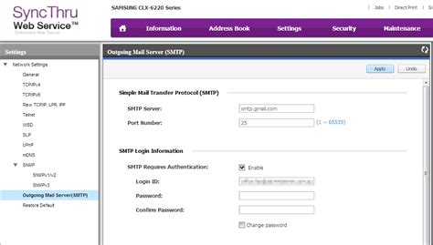 Smtp Gmail 25 by Setting Up The Samsung Clx 6220 With Gmail Smtp Business