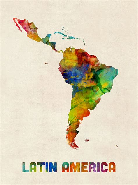 latin america watercolor map digital art  michael tompsett