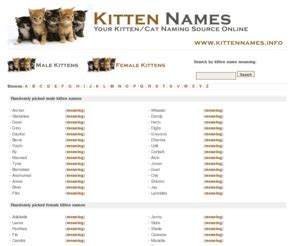 cat names unique kittennames info kitten names free searchable database