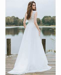 simple lace a line boho beach wedding dress long tulle With long beach wedding dress
