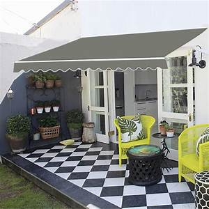 Uk Patio Awning Manual Garden Canopy Sunshade Retractable