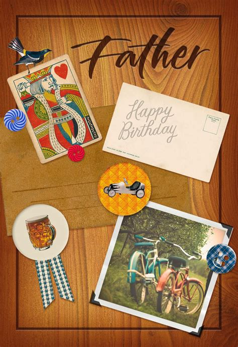 buttons  wood birthday card  dad