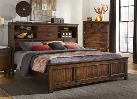 King Bookcase Storage Bed by Intercon Furniture Wolf Creek King Bookcase Bed W Both