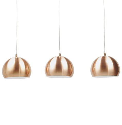 luminaire suspendu triple boule couleur cuivre anja