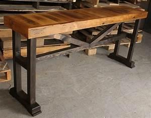 barn board trestle console table by rebarn rebarn With barn board end tables