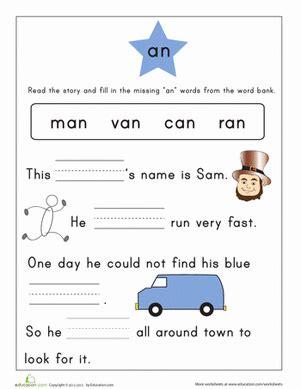word family story  worksheet educationcom
