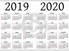 Calendar For 2019 And 2020 Stock Vector Image 50677558