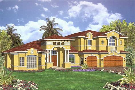 Elevation Mediterranean House Plans Two Story Waterfront