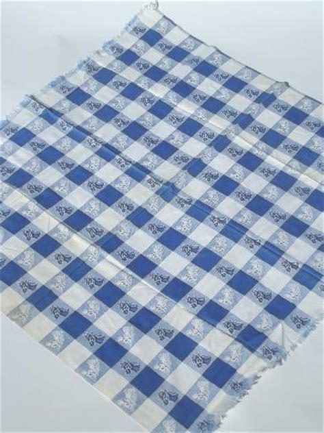 vintage horses print fabric tablecloth, blue & white