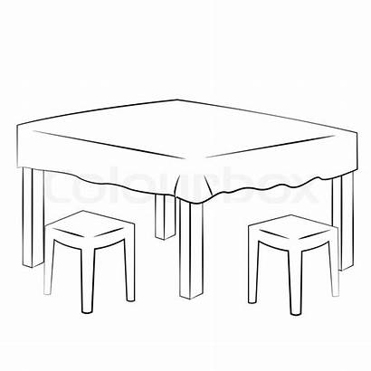 Vector Table Outline Dining Background Colourbox
