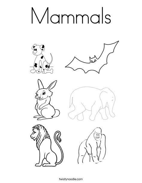 mammals coloring page twisty noodle