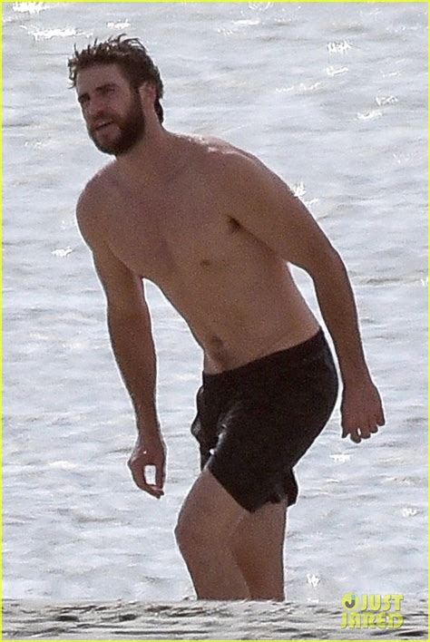 liam hemsworth  shirtless   beach   met