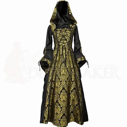 Gold Hood Damsel Medieval Dresses Clothing Renaissance