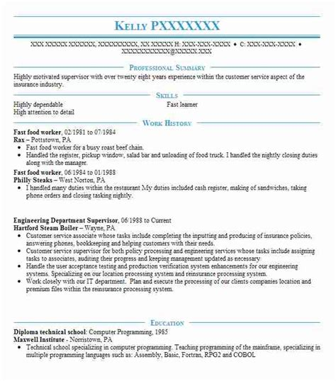 Fast Food Worker Resume by Fast Food Worker Resume Sle Worker Resumes Livecareer