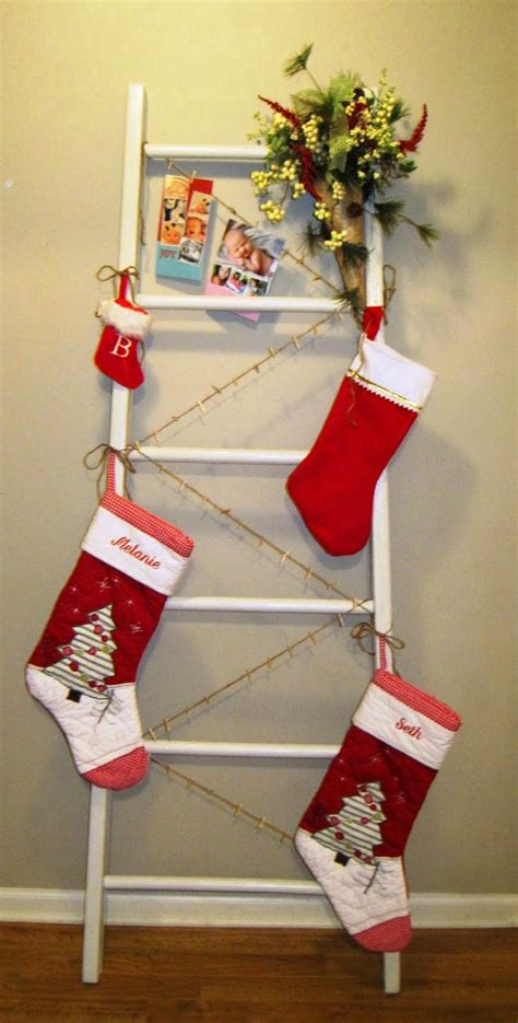 diy christmas ladder stocking and card holder tis the