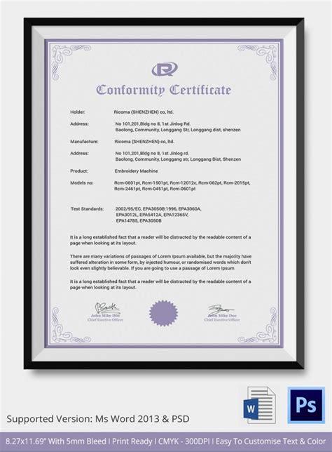 conformance certificates psd word ai indesign