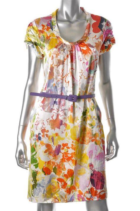 elie tahari bright floral print stretch silk charmeuse