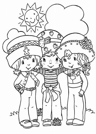 Coloring Friends Strawberry Shortcake Pages Preschoolers Helping