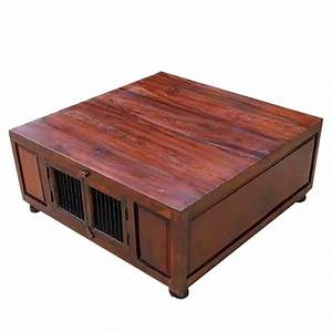 Solid wood square storage trunk cocktail coffee table for Square coffee table with storage