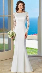 simple elegant long sleeves wedding dress for older brides With wedding dresses for brides over 60