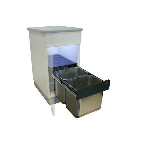 cuisine basse poubelle basse 2 bacs 30l inox