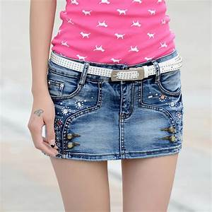 Women Summer Denim skirts beads rhinestone ladies denim skirts bottom shorts pantskirt rips ...