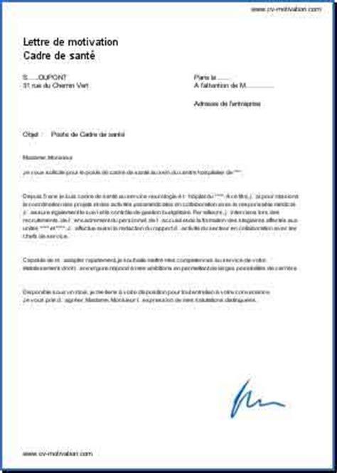 lettre de motivation cadre infirmier cadre de sant 233 exemple de lettre de motivation