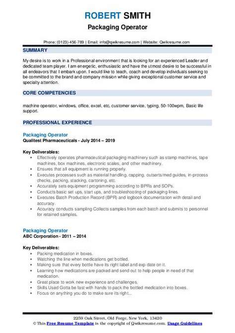 resume sle machine operator packaging operator resume sles qwikresume