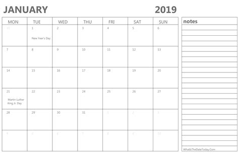 editable january calendar holidays notes