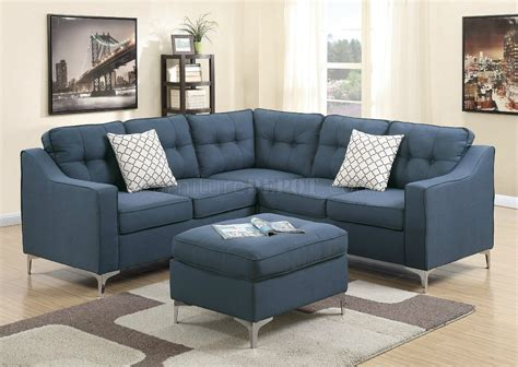 Sectional Sofas With Ottoman by F6999 Sectional Sofa In Navy Fabric W Ottoman By