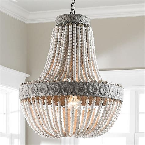 Beaded Chandelier - shades of light neutral boho aged wood beaded