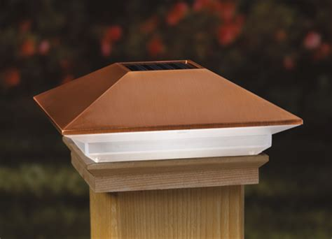 solar lights for decks post cap deckorators copper high point solar post cap deck supply