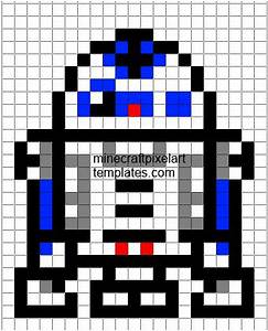 Minecraft pixel art templates r2 d2 for Star wars pixel art templates