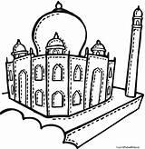Taj Mahal Coloring Drawing Mosque Getdrawings Cartoon Printable Getcolorings Clipartmag sketch template