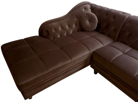 canapé angle velours canapé d 39 angle brittish velours marron style chesterfield