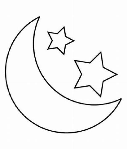Moon Coloring Pages Stars Printable Child