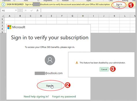 Office 365 Outlook Asking For Credentials by Excel 365 Prompts To Sign In To Verify Account Feature